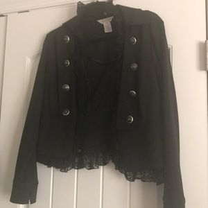 Black lacy jacket with silver/black buttons